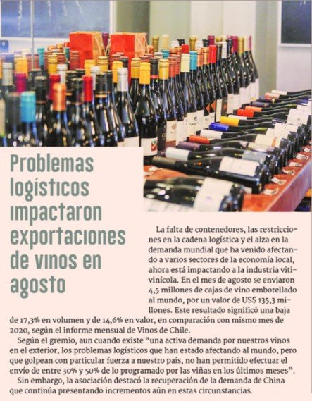 Problemas logísticos impactaron exportaciones de vinos en agosto
